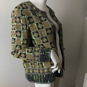 Vintage Beaded Sequin Formal Jacket M Green & Gold